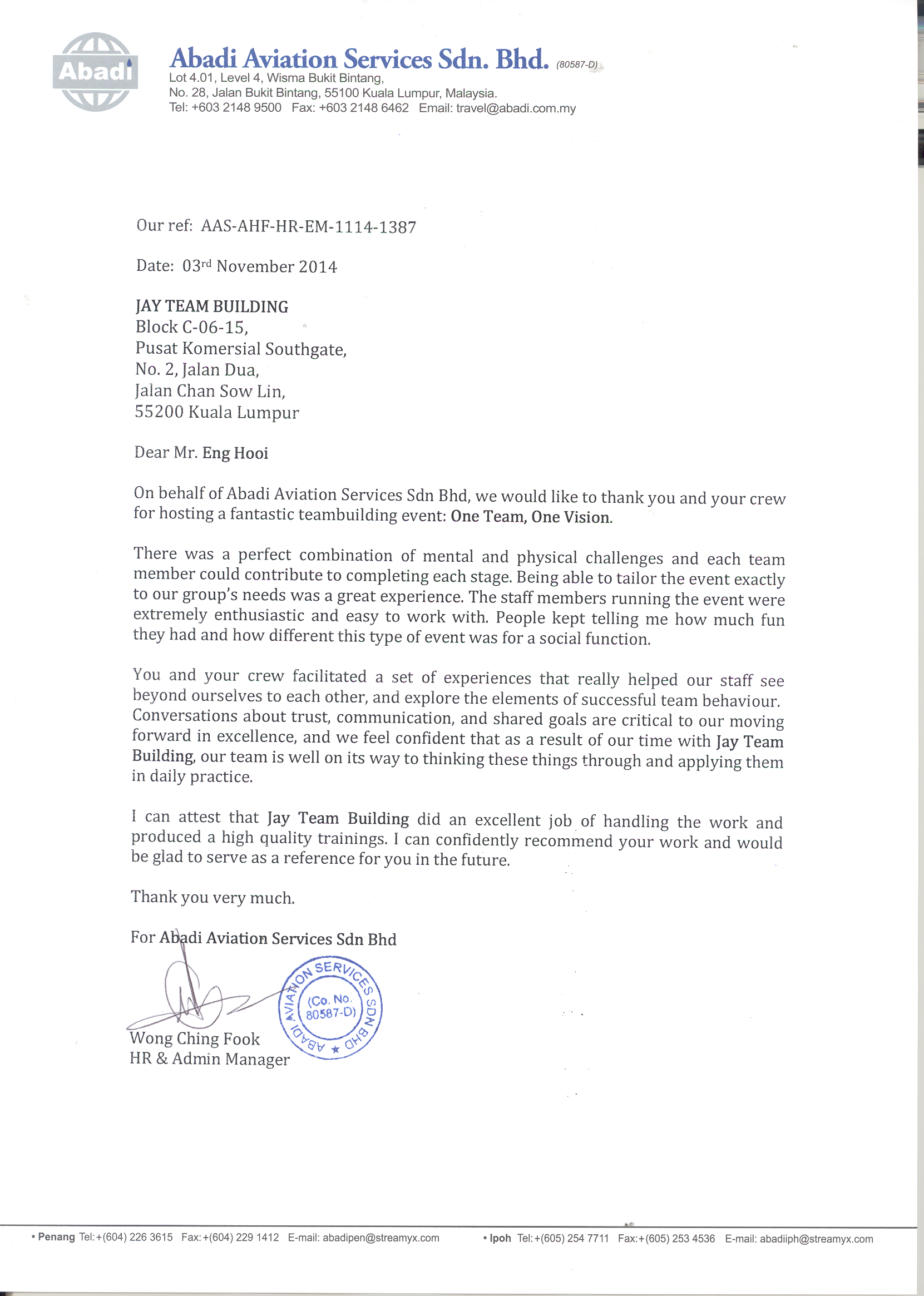 Testimonial Appreciation - Abadi Aviation Services